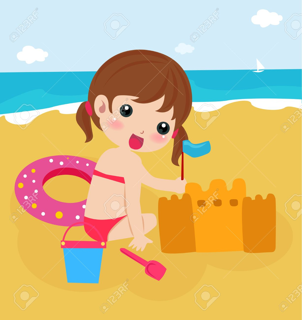 Little Girl Building A Sand Castle At The Beach Royalty Free.