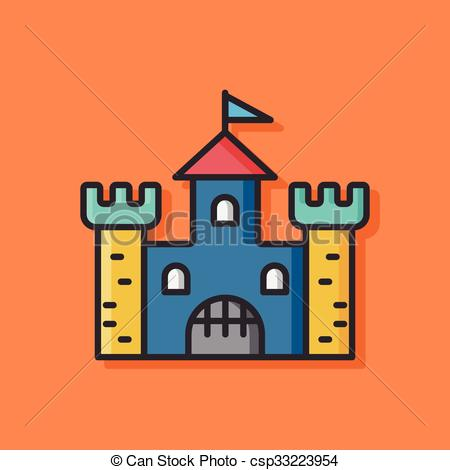 Clipart Vector of castle building vector icon csp33223954.