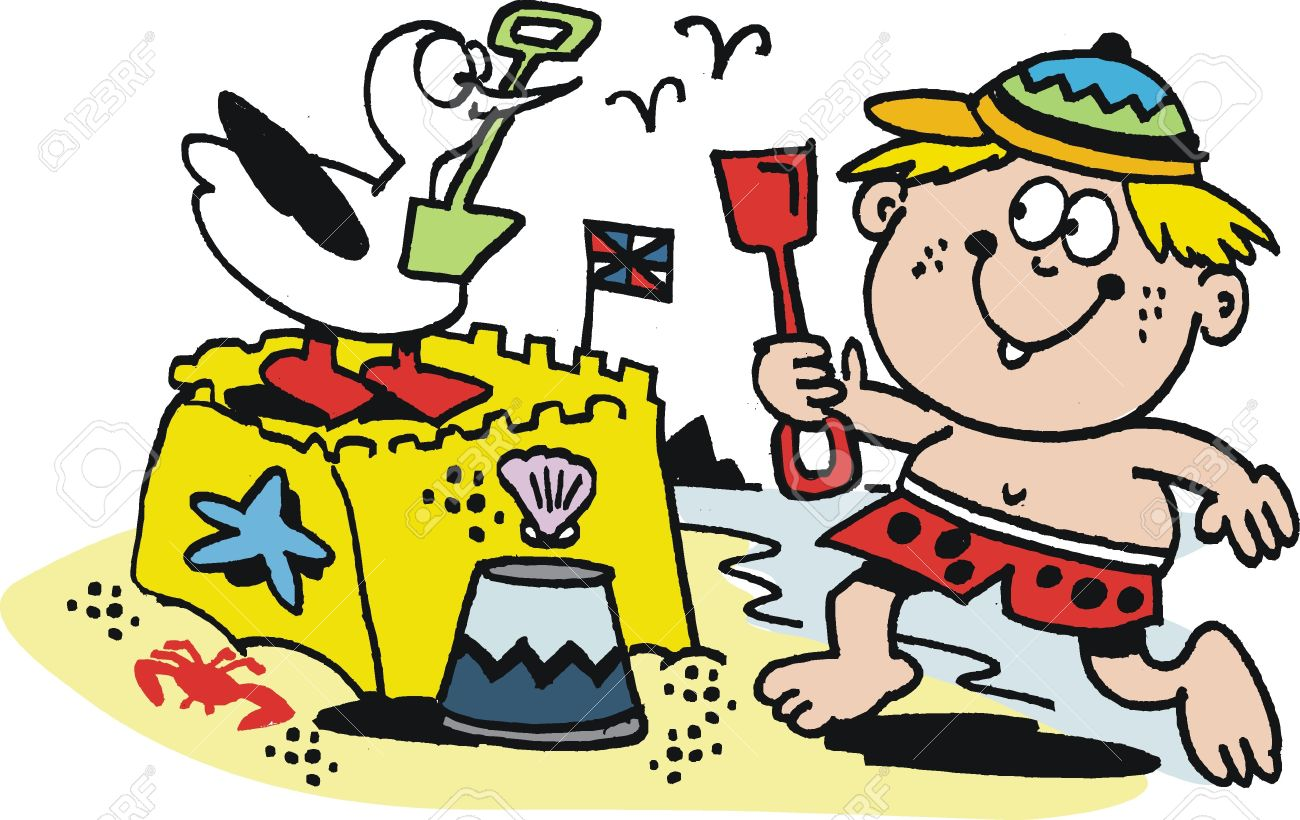 Cartoon Of Boy Building Sand Castle At Beach Royalty Free Cliparts.