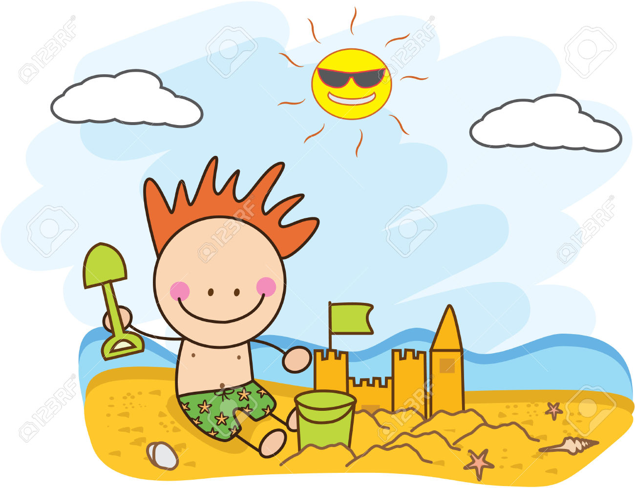Children Build Sand Castle At Beach Royalty Free Cliparts, Vectors.