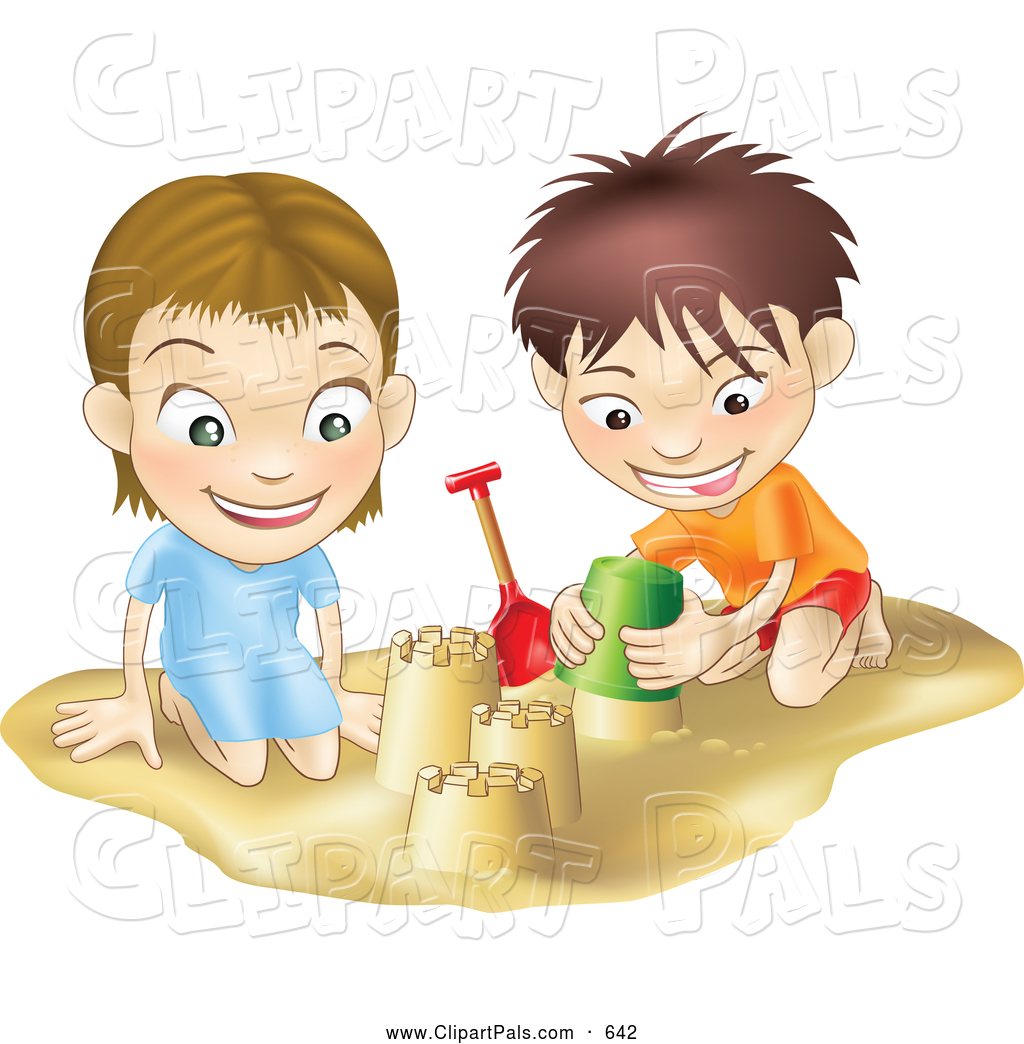 Clipart of teens building a house.