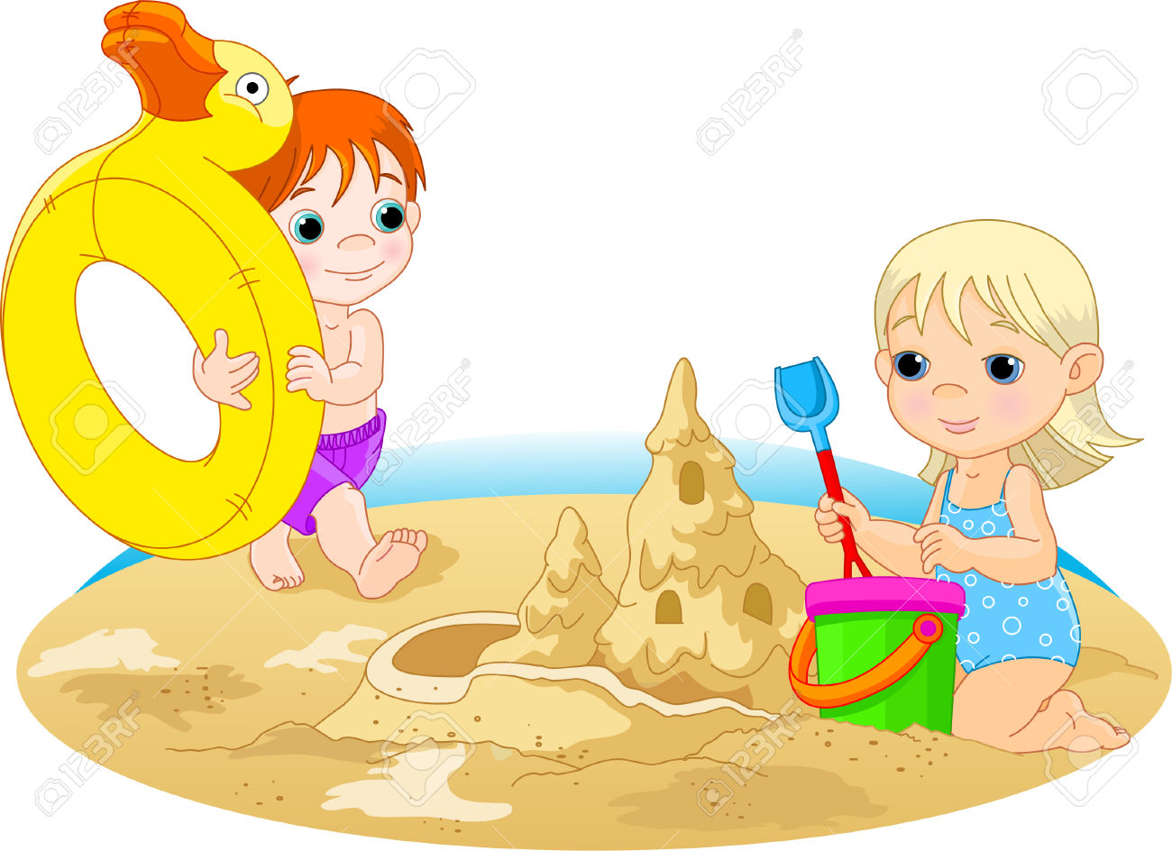 Little Girl Building A Sand Castle And The Boy Going With Rubber.