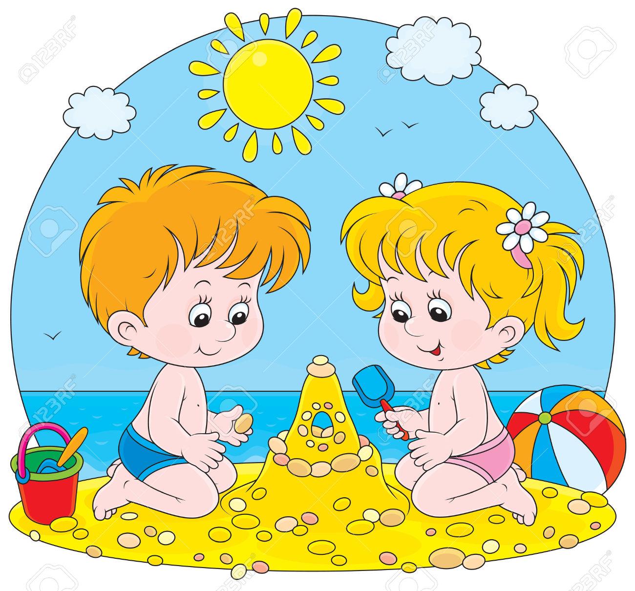 Girl And Boy Building A Sand Castle On A Beach Royalty Free.