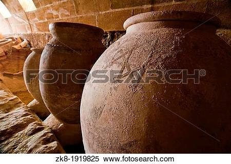 Stock Image of Jars of clay to preserve foods in the cellar La.