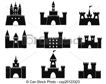 Vector Illustration of black castle icons.