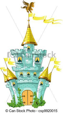 Clipart Vector of magical fairytale blue castle with flags.