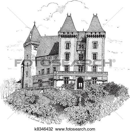Clipart of Chateau de Pau or Pau Castle in France vintage.