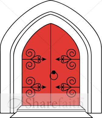 Church Doors in Outline.