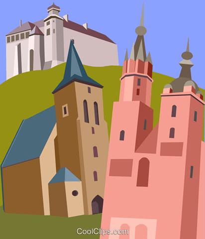 Wawel Castle, Church of Holy Cross Royalty Free Vector Clip Art.