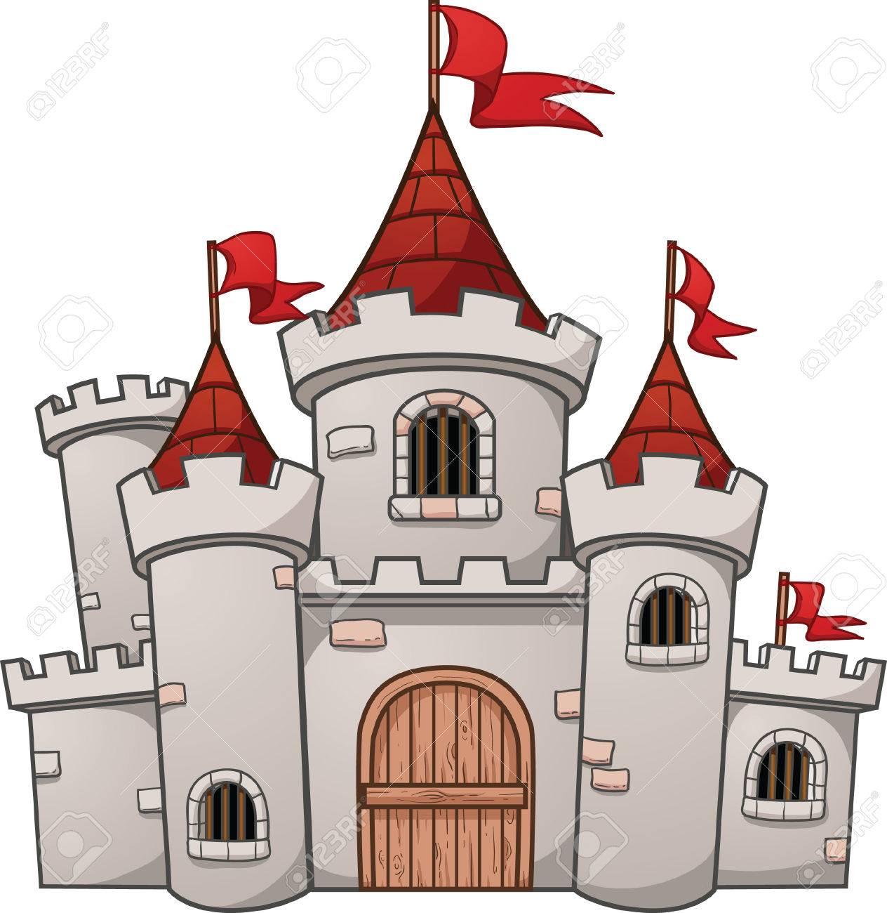 Cartoon medieval castle. Vector clip art illustration with simple...