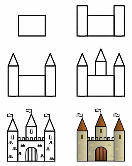 Drawing a cartoon castle.