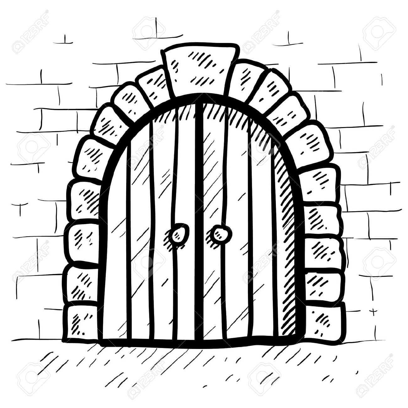 Doodle Style Castle Door In Vector Format Royalty Free Cliparts.