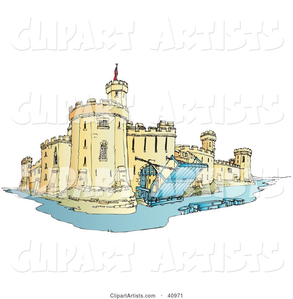 Castle Surrounded By A Moat, With The Draw Bridge Up And.