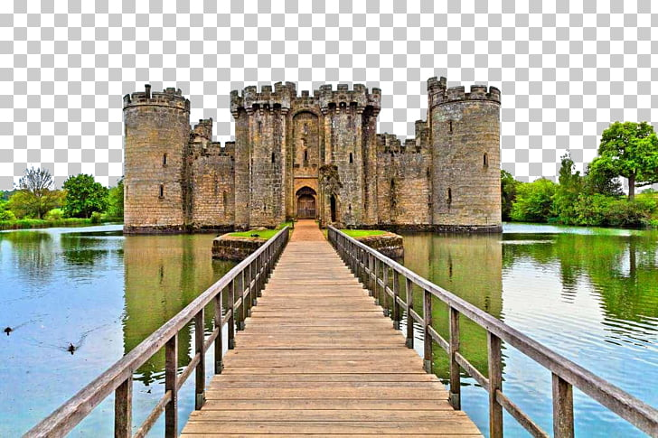 Castle Moat Drawbridge Wall decal Sticker, English medieval.