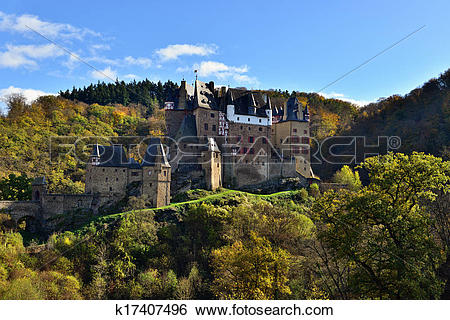 Stock Images of medieval castle Eltz, located on the mountain in.