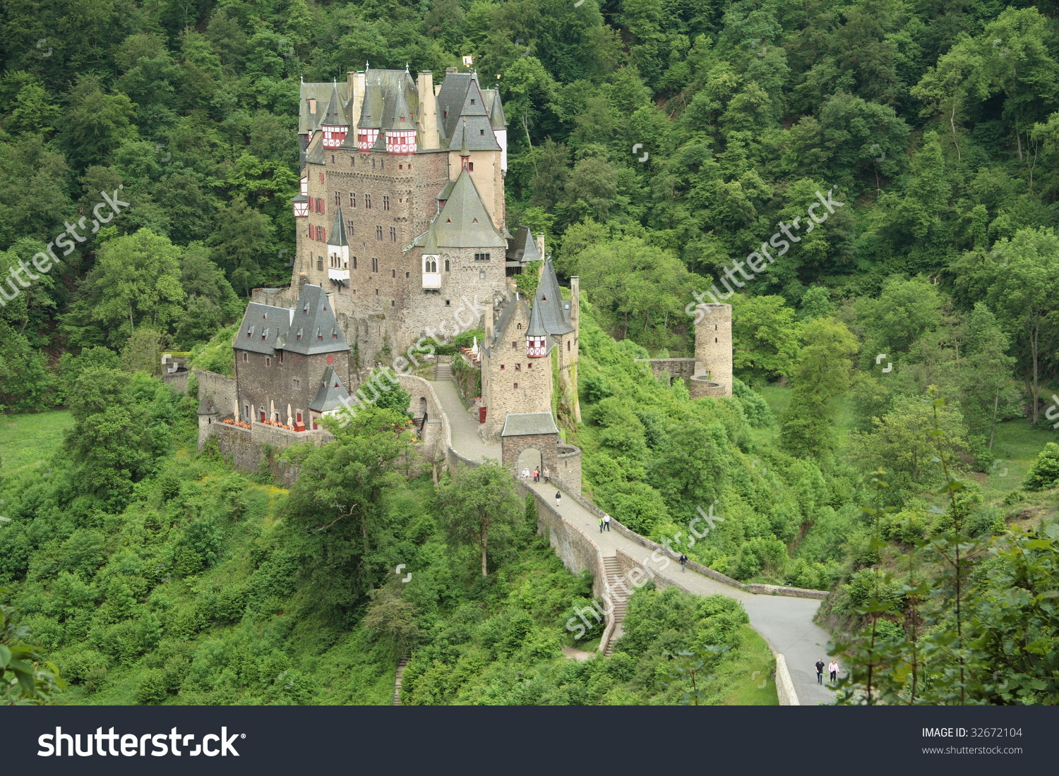 Medieval Castle Eltz In Moselle Valley, Germany Stock Photo.