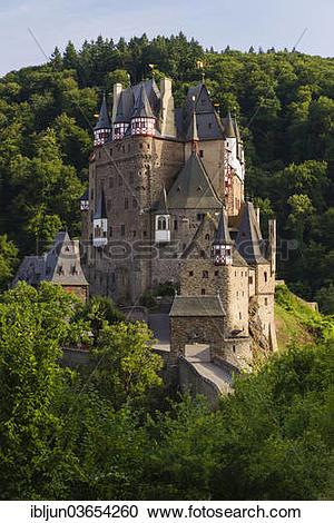 "Stock Photography of ""Burg Eltz Castle, castle built on a hill."