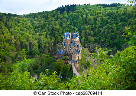Stock Photography of Eltz castle view from above among forest.