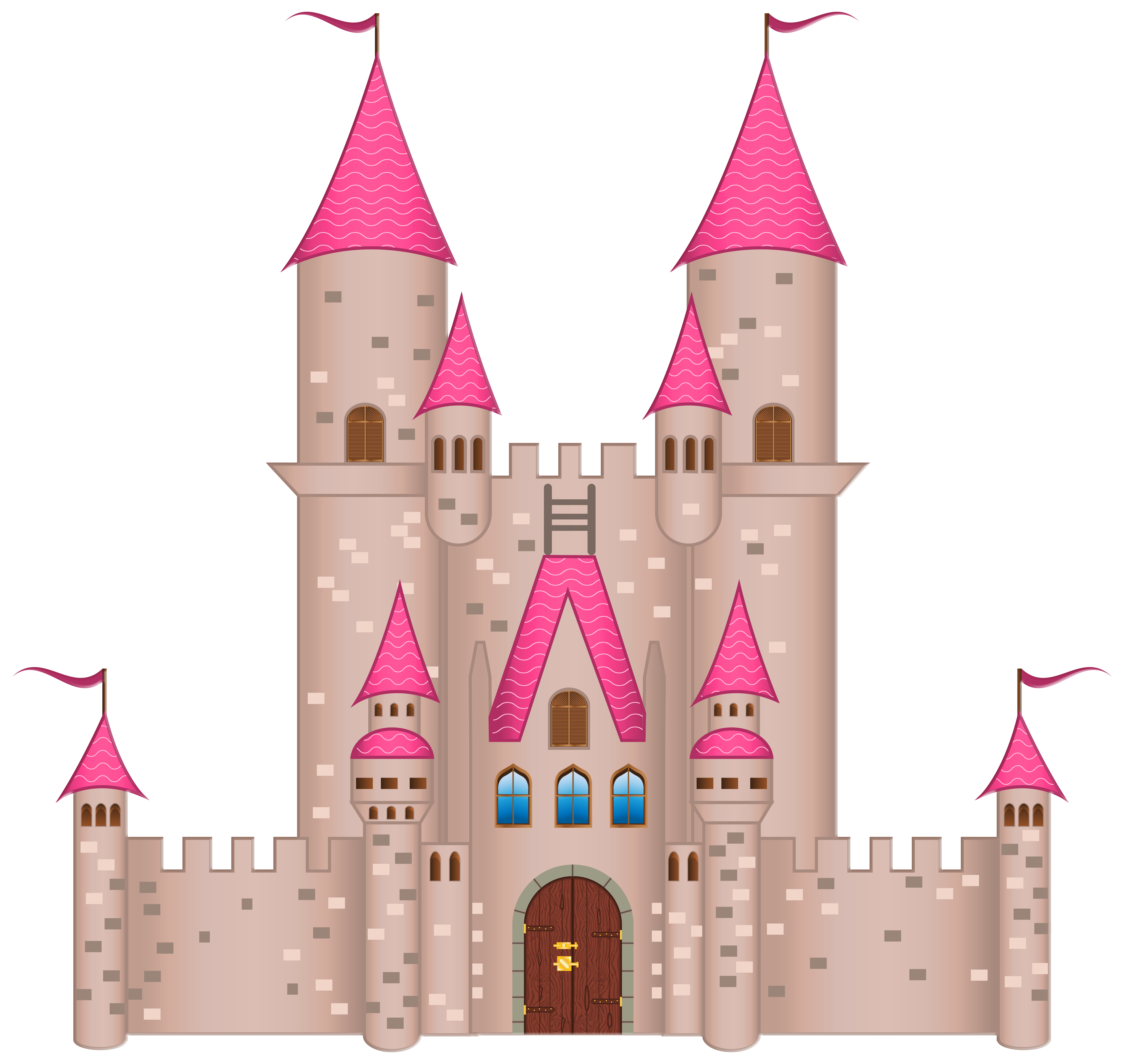 Pink Castle PNG Clipart Image.