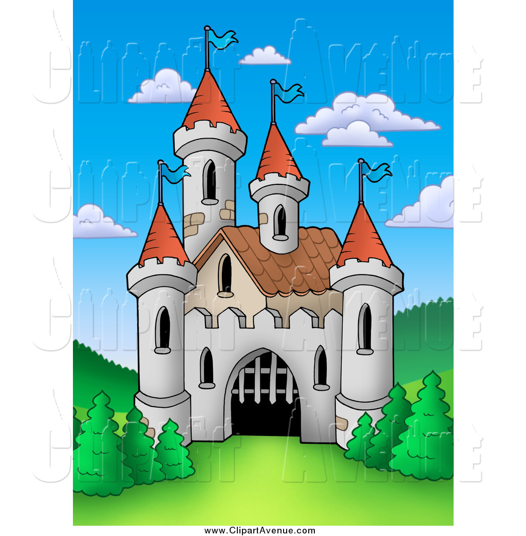 Avenue Clipart of a Castle with an Opening Gate by visekart.