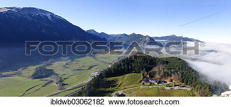 "Stock Photo of ""View from the ruins of Falkenstein Castle over."