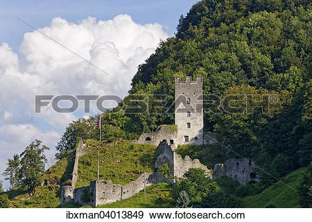 "Stock Photograph of ""Falkenstein Castle ruins, Flintsbach am Inn."