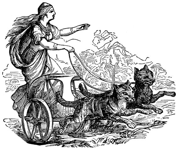 I'd like to make a Freya and her cat charriot painting, but not.