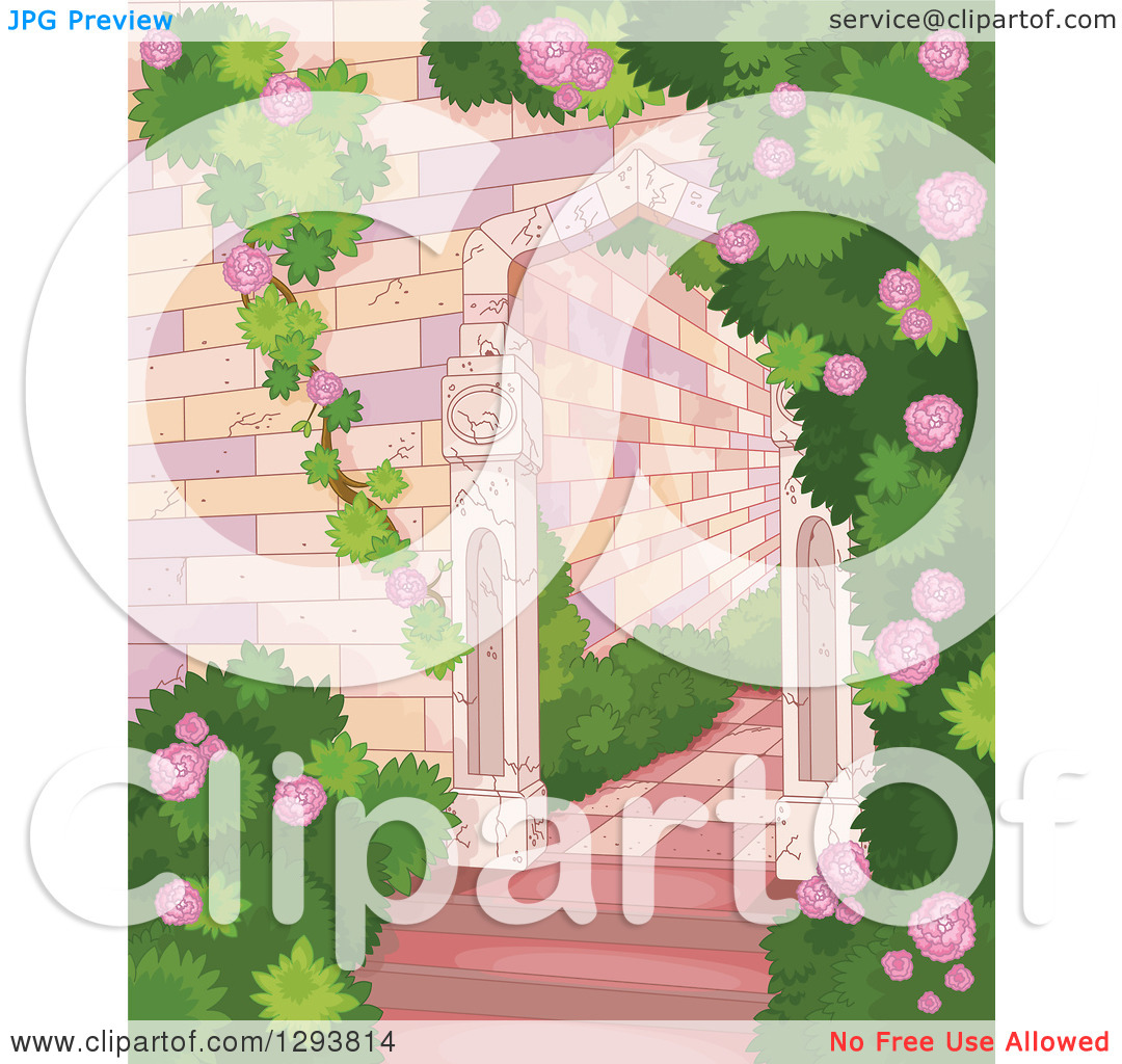 Clipart of a Castle Garden of Roses and Shrubs.
