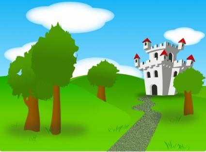 Castle garden clipart.