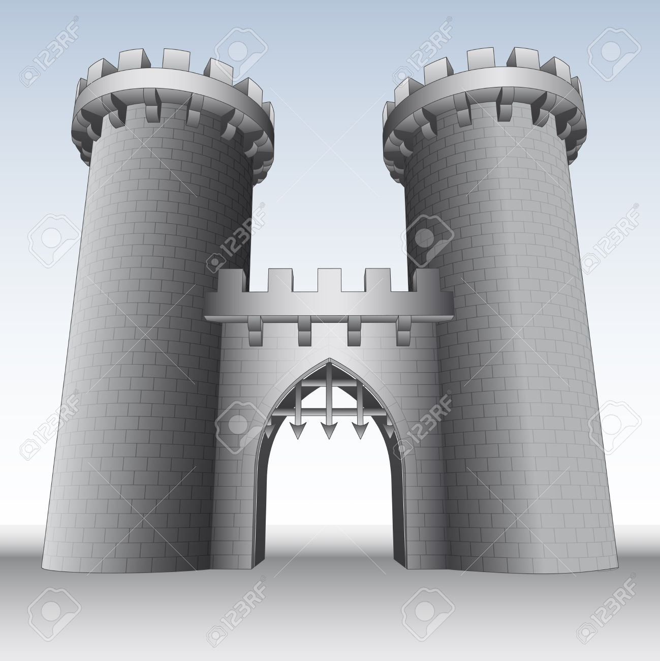 Castle Gate With Two Towers And Sky Illustration Royalty Free.