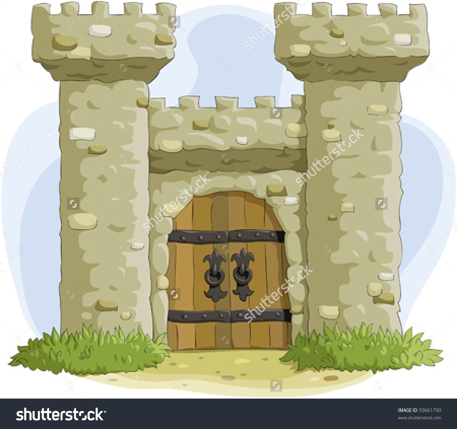 Ancient Fortress Gate Stock Vector 59661790.