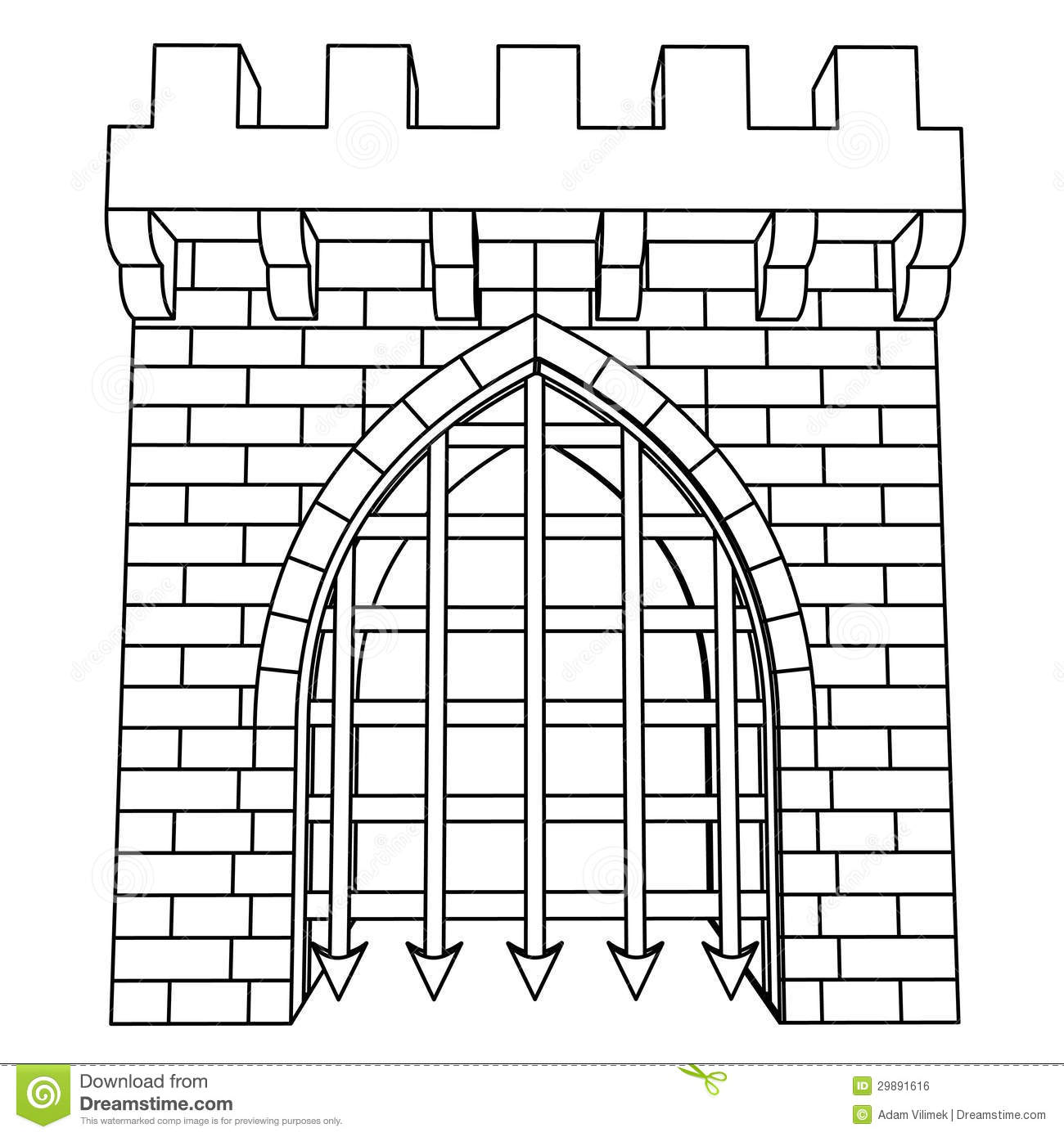 Isolated Medieval Gate Vector Drawing Or Coloring Royalty Free.