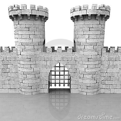 Old Medieval Castle Stone Gate Iron Door Stock Photos, Images.