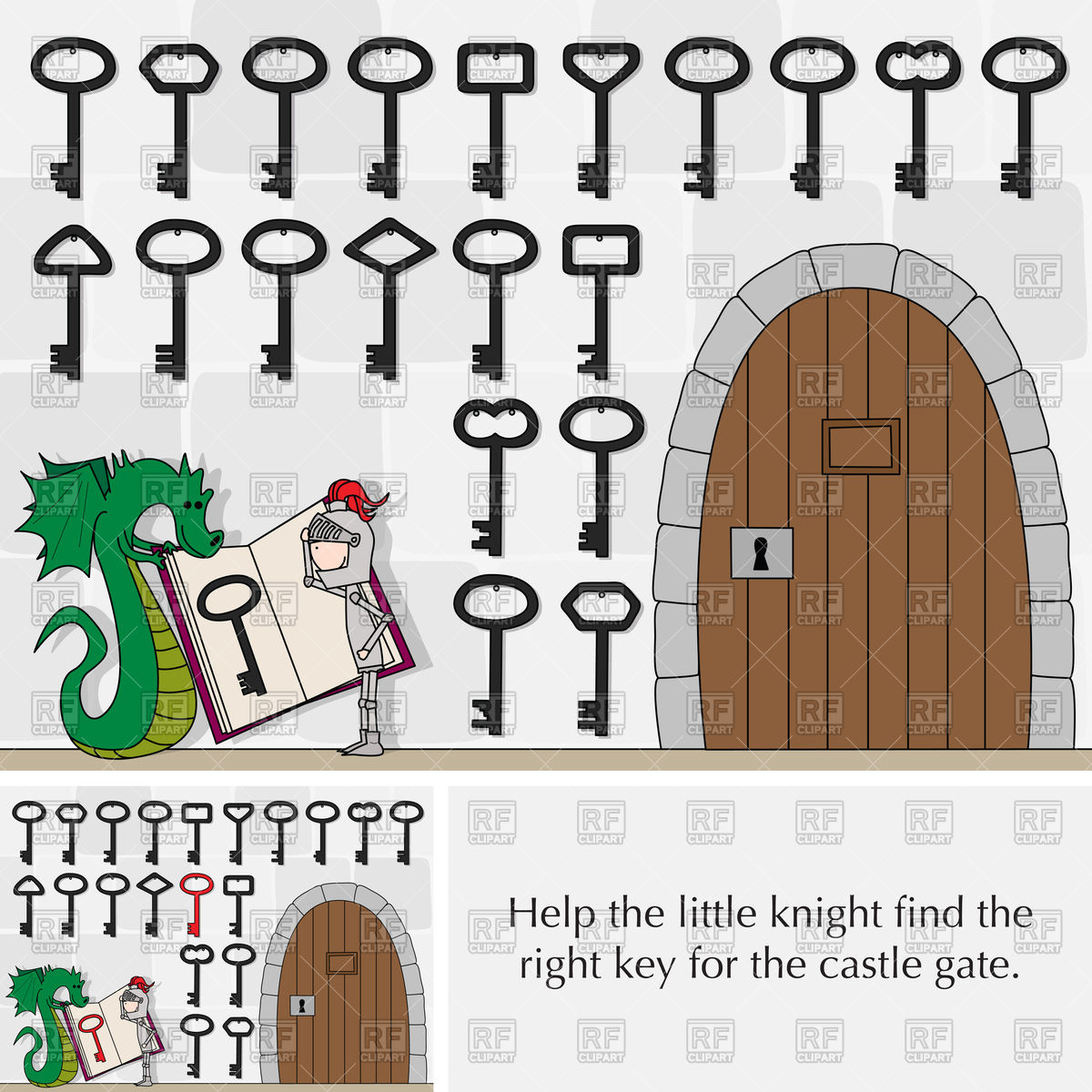 Puzzle for kids with knight, key and castle gate Vector Image.