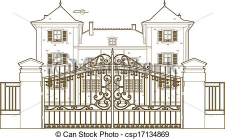 Clip Art Vector of design behind the castle gate.