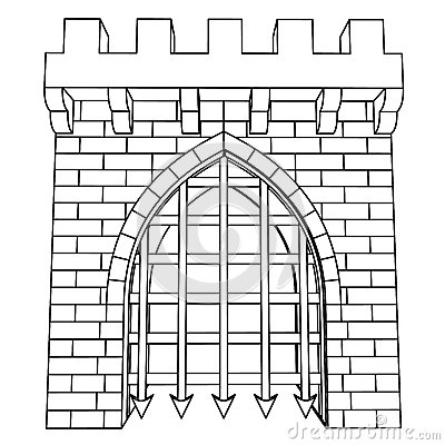 Old Medieval Castle Gate Black White Stock Photos, Images.