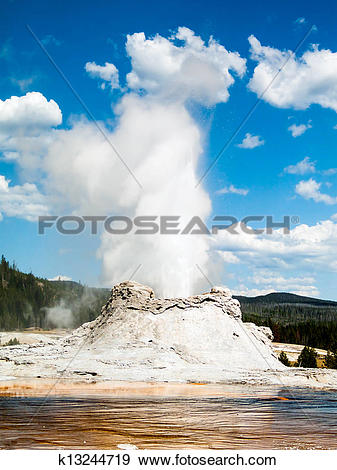 Stock Photograph of Castle Geyser Erupting in Yellowstone.