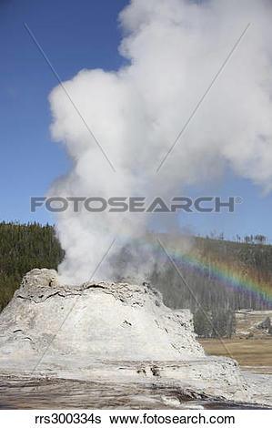 Stock Images of Castle Geyser eruption, Upper Geyser Basin.