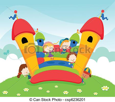 Vector Clip Art of Jumping Castle.