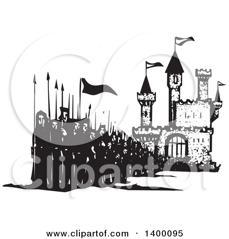 Clipart of a Black and White Woodcut Landscape of a Castle and.
