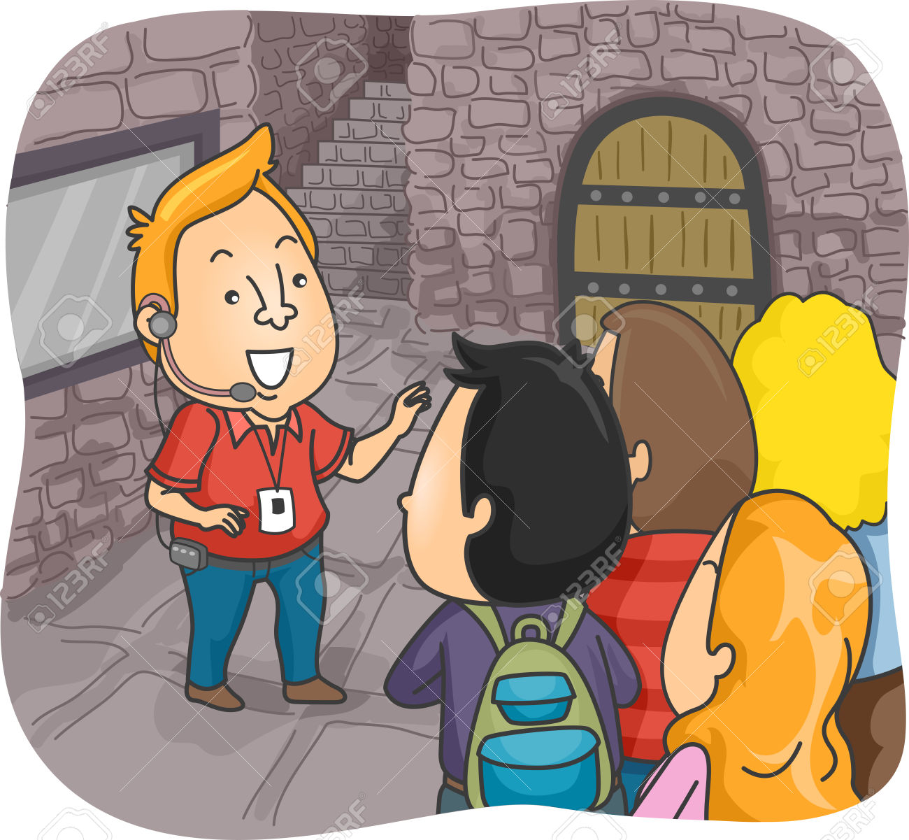 Illustration Of A Tour Guide Guiding A Group Of Tourists Inside.