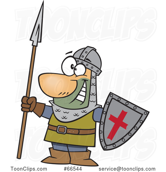 Cartoon Castle Guard Holding a Spear and Shield #66544 by.