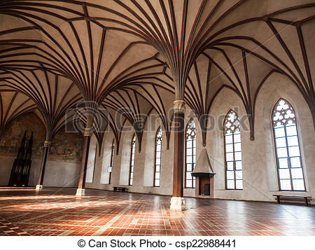 Stock Photo of Gothich arches in castle hall.
