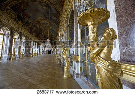 Picture of Statues in glass gallery of castle, Hall of Mirrors.