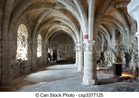 Stock Images of Arched Windows and Hall Inside a Castle.