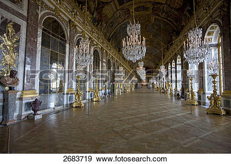 Stock Photograph of Statues in glass gallery of castle, Hall of.