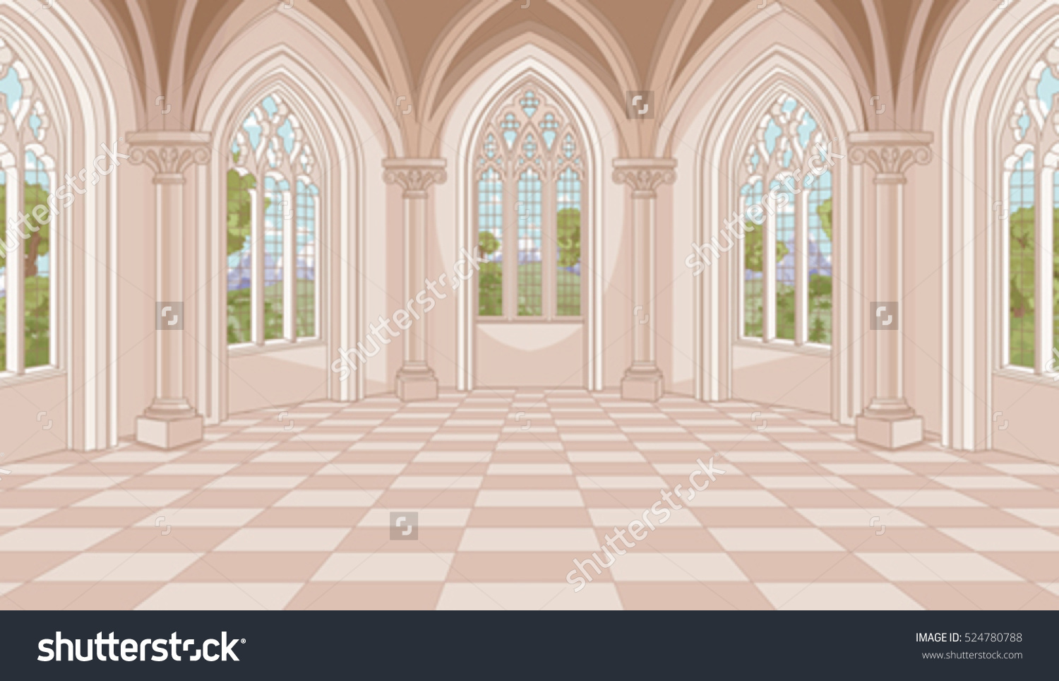 Illustration Medieval Castle Hall Stock Vector 524780788.