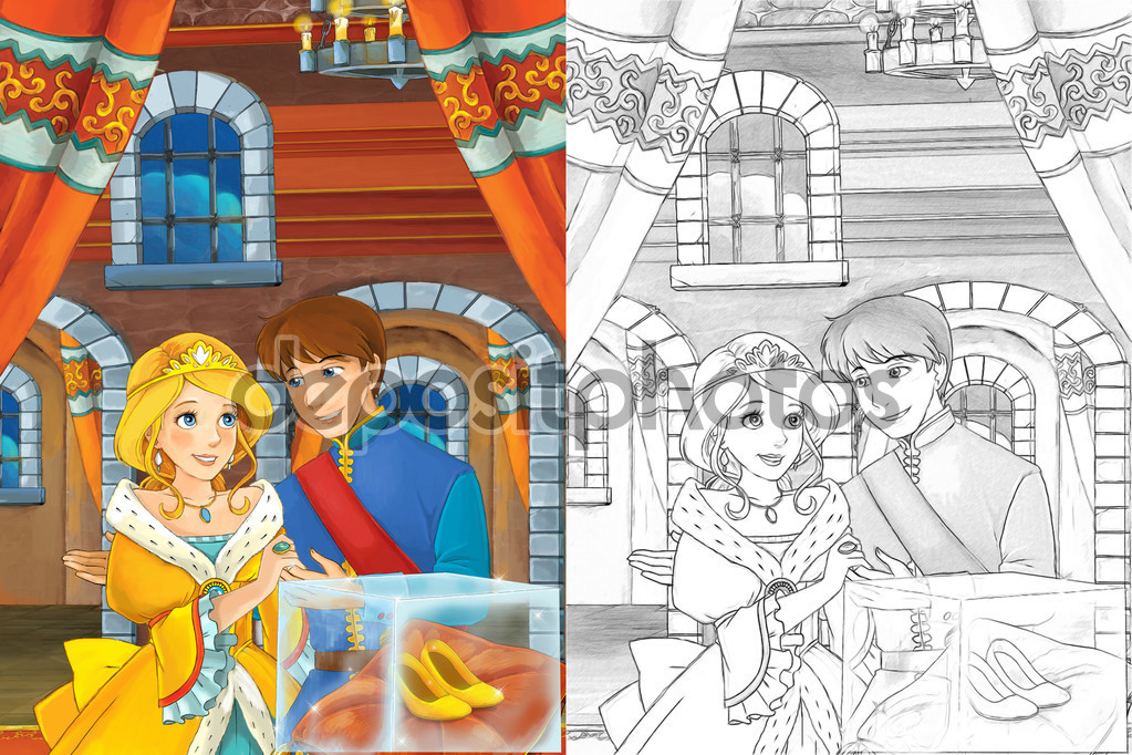 Prince and princess in the castle hall.