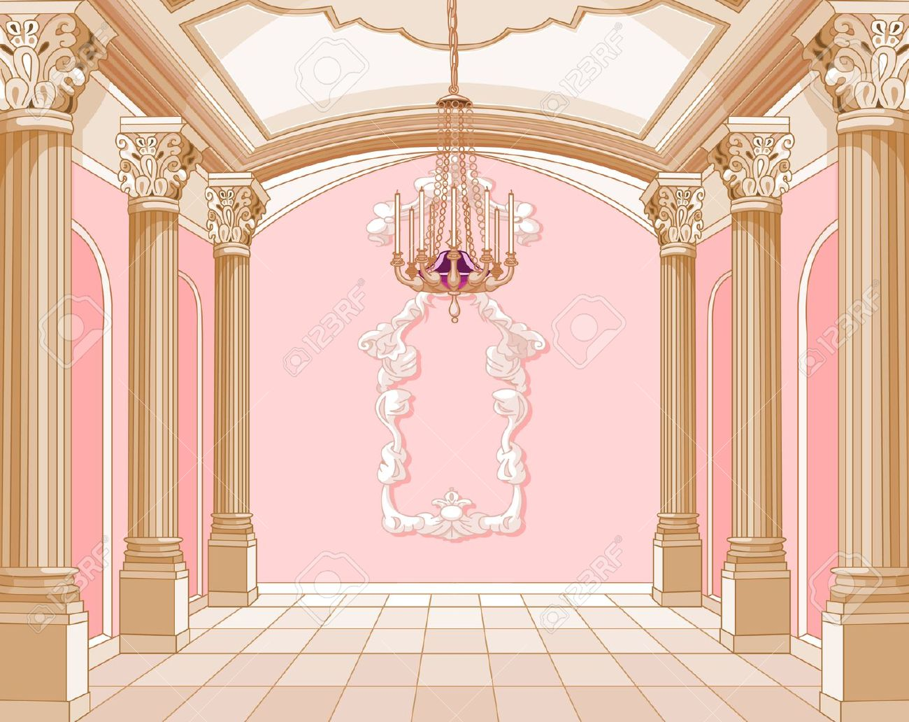 Interior Of The Ballroom Of Magic Castle Royalty Free Cliparts.