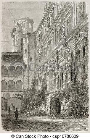 Stock Illustration of Heidelberg castle ter.